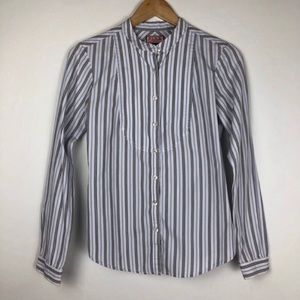 PINK Band Collared L/S Striped Button Down Size 10